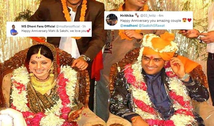 MS Dhoni, MS Dhoni anniversary, MS Dhoni-Sakshi Marriage Anniversary, 2019 ICC Cricket World Cup, Cricket News, 2019 ICC CWC, Sakshi Dhoni, Twitter wishes