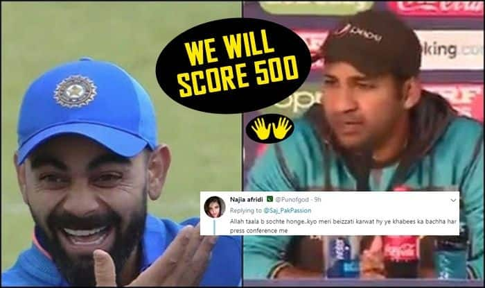Sarfaraz Ahmed, Sarfaraz Ahmed trolled, Sarfaraz Ahmed funny memes, Sarfaraz Ahmed Press Conference, We will try to score 500, ICC Cricket World Cup 2019, ICC World Cup 2019, Pakistan Cricket Team, Pakistan semi-final scenario, How can Pakistan qualify, 2019 ICC CWC, Cricket News, Manchester, Edgbaston, PCB, Indian Cricket Team, Pakistan vs Bangladesh, Pak vs Ban