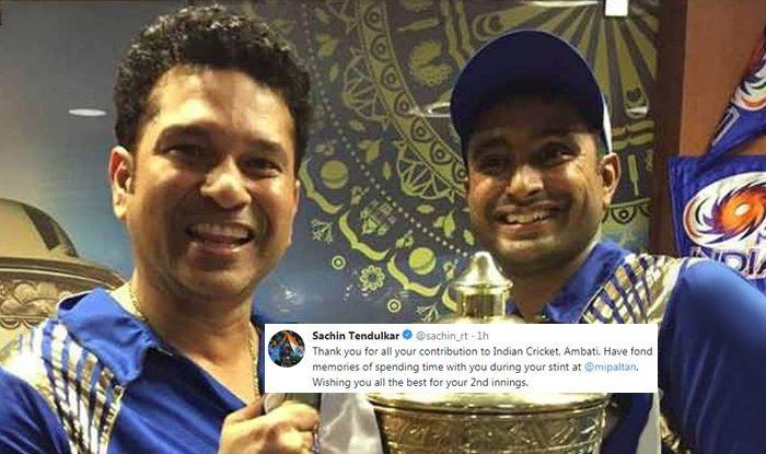 Sachin Tendulkar, Sachin Tendulkar wished Rayudu, Ambati Rayudu, Ambati Rayudu retires, Ambati Rayudu retires from all form of cricket, Ambati Rayudu retires from international cricket, Ambati Rayudu dropped, Ambati Rayudu BCCI, BCCI, ICC World Cup 2019, Indian team, Twiter reacts, twitter says sorry to Ambati Rayudu, Twitter Ambati Rayudu, ICC Cricket World Cup 2019, 2019 ICC CWC