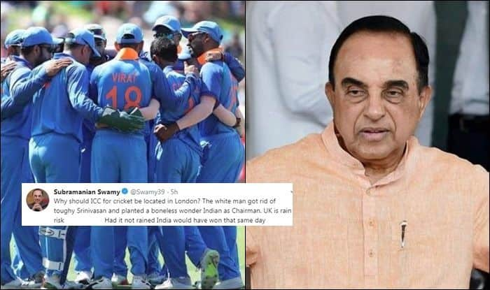 BJP MP Subramanian Swamy, Dr Subramanian Swamy, Dr Subramanian Swamy trolls ICC, ICC Cricket World Cup 2019, ICC World Cup 2019, Cricket News, 2019 ICC cricket World Cup, India vs New Zealand, Ind vs NZ, Manchester, Old Trafford