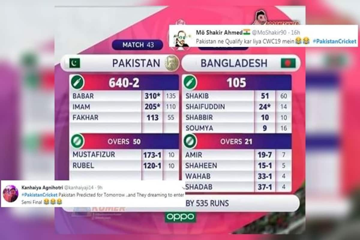 Optimistic Pakistan Fans Come Up With Scorecard Of Bangladesh 2019 Icc Cricket World Cup Match And It Has Become A Viral Meme See Posts India Com
