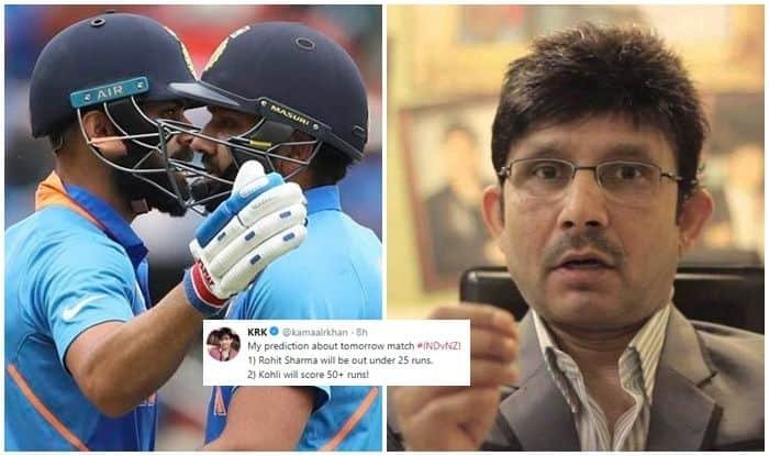 Kamal R Khan, Kamal R Khan Makes Prediction on Virat Kohli-Rohit Sharma, Rohit Sharma out under 25, Virat Kohli fifty, India vs New Zealand, India vs Zealand Semi-Final 1, ICC Cricket World Cup 2019, ICC World Cup 2019, 2019 World Cup, Ind vs NZ, KRK Trolled, Manchester, Old Trafford, Cricket News