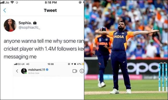 Mohammed Shami, Mohammed Shami controversy, Mohammed Shami wickets, Mohammed Shami sends message to unknown lady on Instagram, ICC Cricket World Cup Semi Final 1 Between India vs New Zealand, ICC Cricket World Cup 2019 Semi Final 1 Between India vs New Zealand, ICC Cricket World Cup 2019, India vs New Zealand, Ind vs NZ, Cricket News, Manchester, Old Trafford