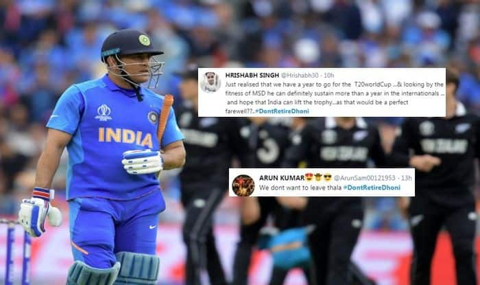 MS Dhoni, #DontRetireDhoni, Fans ask Dhoni not to retire, MS Dhoni dismissal, MS Dhoni runout fake news, MS Dhoni retiring, MS Dhoni runout, ICC Cricket World Cup 2019 Semi-Final 1, ICC World Cup 2019 Semi-Final 1, Cricket News, New Zealand beat India by 18 runs, Manchester, Old Trafford, World Cup 2019, Captain Cool, Mahi