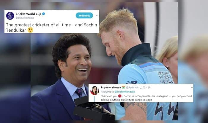 ICC Trolls Sachin Tendulkar as he Awards Ben Stokes Man of The Match in World Cup Final, Fans Hit Back, Fans Slam ICC, ICC Takes Cheeky Jibe at Sachin Tendulkar, Sachin Tendulkar gives award to Ben Stokes, Man of the Match Ben Stokes, ICC Cricket World Cup 2019, ICC World Cup 2019 Finals, Lords, London, Ben Stokes, overthrows, Super Over, Cricket News, ICC Rules