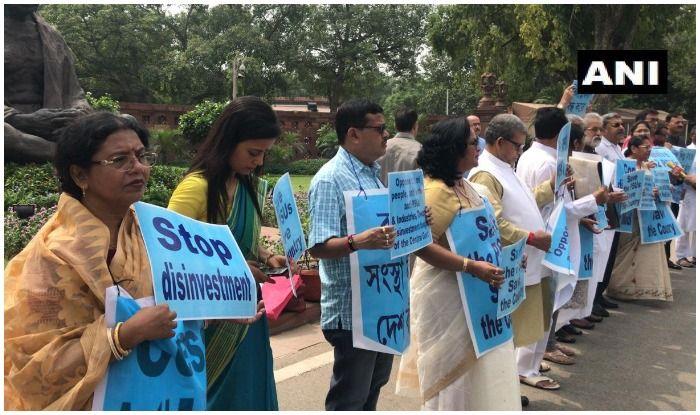 TMC Parliamentarians Hold Protest Against Disinvestment in Public Sector Undertakings