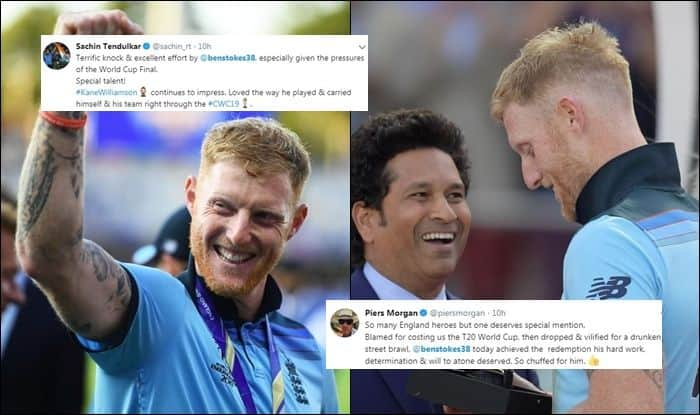Ben Stokes, Man of the match Ben Stokes, Sachin Tendulkar hails Ben Stokes, Ben Stokes Twitter reactions, England Beat New Zealand in Super Over, England Beat New Zealand in Super Over by virtue of boundaries, England Beat New Zealand in Super Over to Lift Maiden World Cup Title, Lords, London, ICC Cricket World Cup 2019, Piers Morgan, Harbhajan Singh, Cricket News, England vs New Zealand, ICC Cricket World Cup 2019 Finals