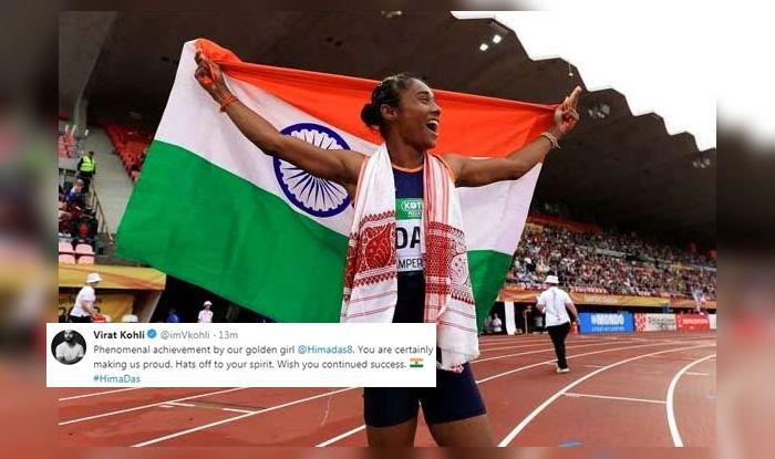 Hima Das, Athlete Hima Das, Hima Das five gold medals, Hima Das records, Him Das 400m, Virat Kohli praises Hima Das, Indian Captain Virat Kohli, Golden Girl Hima Das, Dhing Express,
