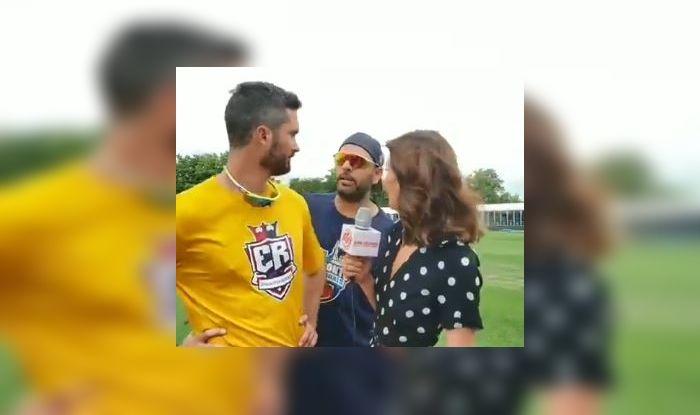 Yuvraj Singh, Yuvraj Singh Lovingly Crashes Ben Cutting-Erin Holland's Interview, Toronto Nationals vs Edmonton Royals, Global T20 Match, Global T20 Match Canada, Global T20 2019