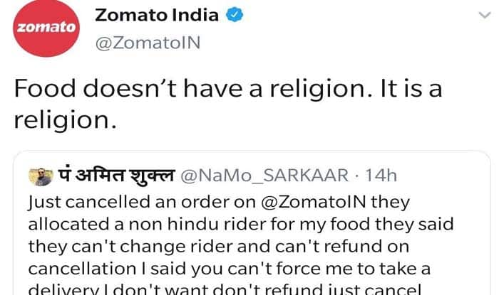 Zomato wins appreciation of Twitterati for shutting bigot after he refused food from a non-Hindu rider