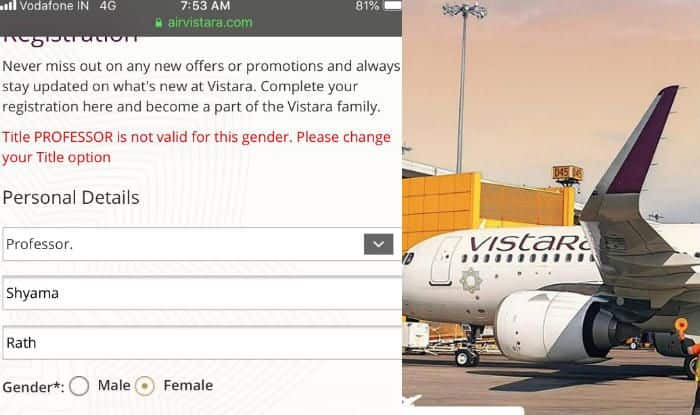 Air Vistara Apologises For Sexist Error on Their Website That Didn't Let Woman Select 'Professor' as Her Title