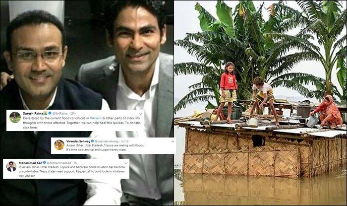 Virender Sehwag, Mohammad Kaif, Suresh Raina, Assam flood, Assam flood news, Cricketers donate in flood relief fund, cricketers help people in flood-affected areas, Cricketers donate money,