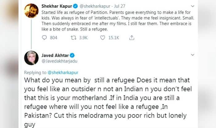 Javed Akhtar Lashes Out at Shekhar Kapur After Filmmaker Tweets he 'Still Feels Like a Refugee' in Country