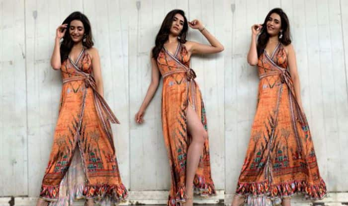 Karishma Tanna Goes Boho Chic in Floral High Slit Long Wrap, See Hot Pictures