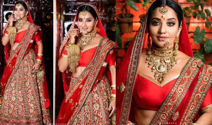 Bhojpuri Queen Monalisa Turns Hot Bride in Red Lehenga For Her Latest Photoshoot – Check Pictures