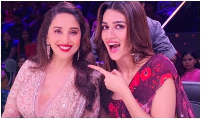 Kriti Sanon Lives Her 'Fan Girl Moment' With Madhuri Dixit as They Blow Kisses And 'Shoot' Together at Fans