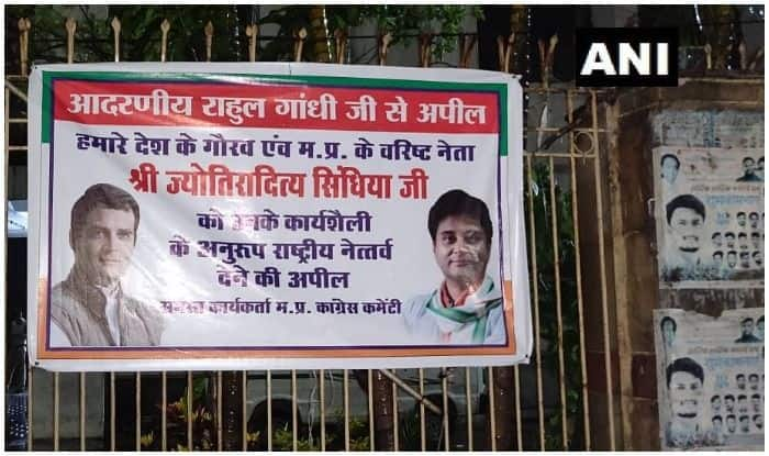 Poster Outside Congress Office Appealing Rahul Gandhi to Make Jyotiraditya Scindia Party President