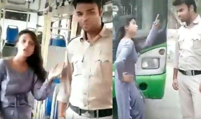 Delhi Girl Dances on Sapna Choudhary's song on DTC bus