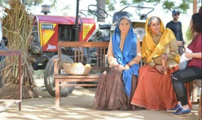 Bhumi Pednekar and Taapsee Pannu on the sets of Saand Ki Aankh