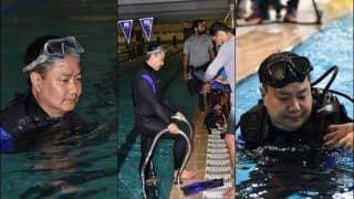 Sports Minister Kiren Rijiju Hits Pool After Watching Specially-Abled Armymen Swim With Ease | SEE PICS