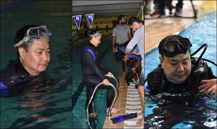Sports Minister Kiren Rijiju, Kiren Rijiju Hits Pool, Specially-abled, physically abled, Youth Affairs and Sports Minister, Kiren Rijiju swimming pool