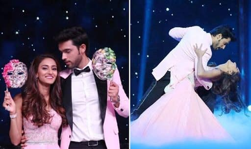 Erica Fernandes and Parth Samthaan on the sets of Nach Baliye 9