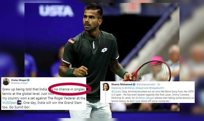US Open 2019, US Open Round 1, Sumit Nagal rally, Sumit Nagal winner against Roger Federer, Chetan Bhagat trolled, 'India has no chance in singles tennis at the global level', Roger Federer Press Conference, Rafael Nadal, Rafel Nadal titles, Roger Federer titles, Roger Federer Grand Slam, Who is Sumit Nagal, Fegal, Arthur Ashe Stadium, Roger Federer vs Sumit Nagal, Sumit Nagal Rank, Roger Federer ranking, US Open live, US Open live streaming, Tennis News, Who is Sumit Nagal, Sumit Nagal reaction after winning first set, Roger Federer beats Sumit Nagal 4-6 6-1 6-2 6-4, I Thought I Played Like my Beard Today, I Was Rusty