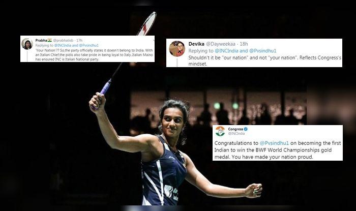 Congress, Indian National Congress, Congress Trolled, Congress Party Congratulates PV Sindhu For Winning BWF World Badminton Championship, Badminton News, PV Sindhu beats Nozomi Okuhara, PV Sindhu becomes first Indian to win BWF World Badminton Championship, PV Sindhu titles, PV Sindhu ranking, Your Nation Proud' Tweet