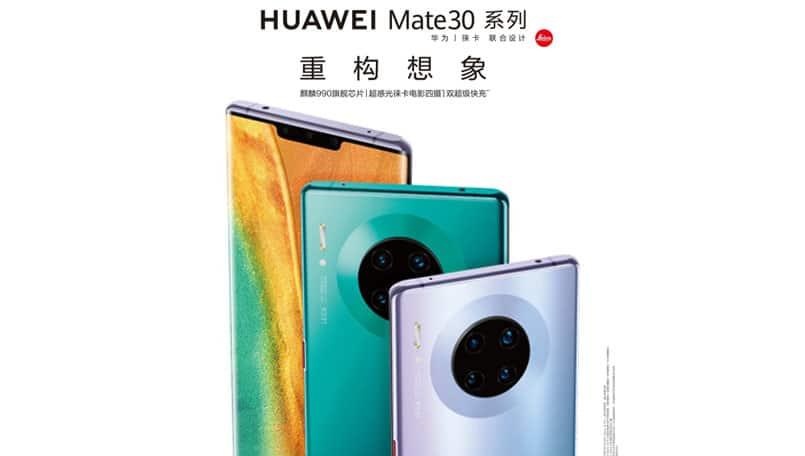 Huawei Mate 30 Pro promotional render showcase a quad-camera setup on the back