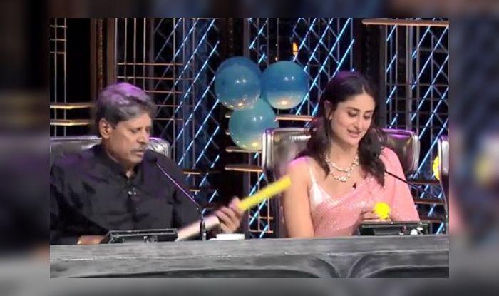 Kapil Dev Gifts Kareena Kapoor an Autographed Bat, Dance India Dance, Kapil Dev in Dance India Dance, Zee TV, Kareena Kapoor, Taimur Ali Khan, Crickt News, World Cup winning captain Kapil Dev