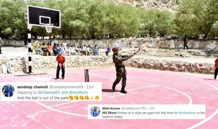 MS Dhoni, MS Dhoni plays cricket on basketball court, MS Dhoni plays cricket in Ladakh, MS Dhoni hoists tricolour, MS Dhoni at army hospital, MS Dhoni in military hospital, Lt Col MS Dhoni, former India captain MS Dhoni, MS Dhoni, India Cricket Team, Jammu And Kashmir, MS Dhoni entertains armymen, MS Dhoni serving army battallion, Cricket News, revocation of the contentious Article 370 pertaining to the special status of J&K, Central Armed Police Forces, MS Dhoni serves Indian Army, Victor Force, Indian Army-MS Dhoni, Dhoni Parachute Regiment, first pictures of Dhoni in Srinagar, Dhoni joins Indian Army in Srinagar, Dhoni to take up patrolling and guard duty in army, Cricket News, Team India, Dhoni serves Indian Army in Srinagar, former India skipper MS Dhoni, Lt Col MS Dhoni, Dhoni to unfurl tricolour on Independence Day, Chennai Super Kings
