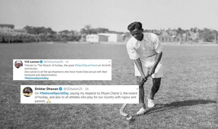 National Sports Day 2019, Olympic, Cricketers pay tribute to Major Dhyan Chand, Shikhar Dhawan, VVS Laxman, Kedar Jadhav, Major Dhyan Chand, Dhyan Chand Birth Anniversary, National Sports Day twitter, why celebrate National Sports Day, Hockey wizard Dhyan Chand, 114th National Sports Day