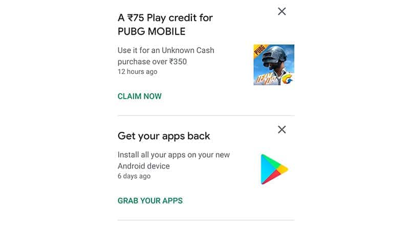 Google Play awarding Rs 75 PUBG Mobile credit on Rs 350 UC purchase