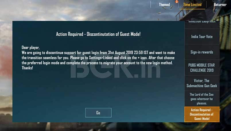 PUBG Mobile guest account option is being removed