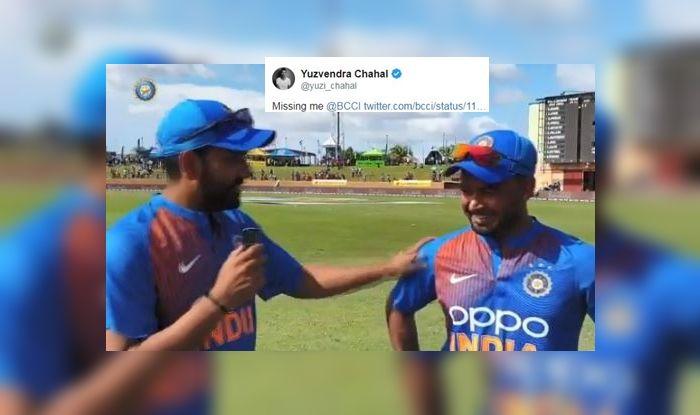 Yuzvendra Chahal, Yuzvendra Chahal reacts to Rohit Sharma-Rishabh Pant Interview, Rohit Sharma interviews Man of The Match Rishabh Pant, India whitewash West indies 3-0, India vs West Indies 3rd T20I, India vs West Indies 1st ODI, Indian Cricket Team, Team India