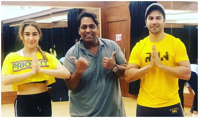 Sara Ali Khan, Ganesh Acharya and Varun Dhawan ahead of Coolie No.1's dance rehearsal