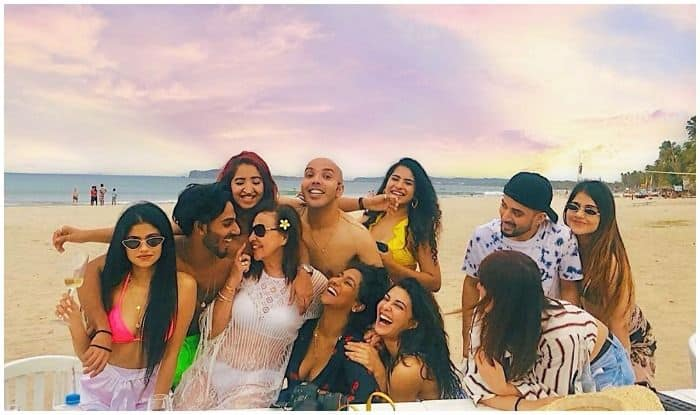 Birthday girl Jacqueline Fernandez with her gang at a beach in Sri Lanka
