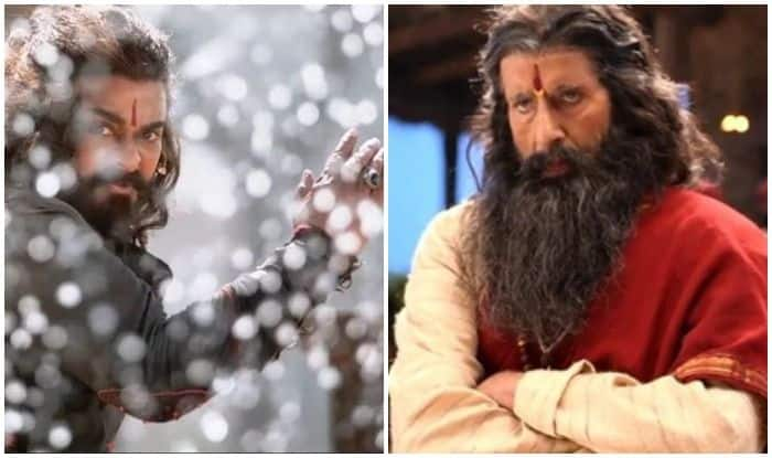 Chiranjeevi and Amitabh Bachchan in stills from Sye Raa Narasimha Reddy