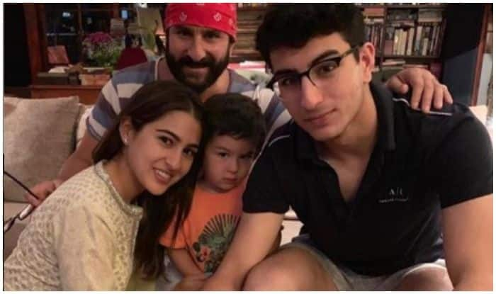 Sara Ali Khan with birthday boy Saif Ali Khan and brothers Ibrahim and Taimur