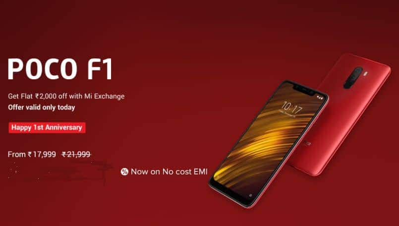 Xiaomi Poco F1 'Happy 1st Anniversary' offer brings Rs 2,000 discount on exchange: Here are details