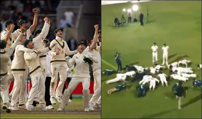 Australia retain urn, Australia celebrate with push ups, Australia beat England by 185 runs, Eng vs Aus, Old Trafford, Manchester, True Blue, Cricket News, Ashes urn, John Williamson, John Williamson songs, Ashes 2019 results, Ashes 2019 live