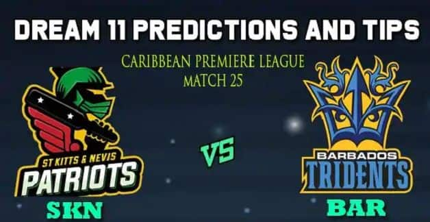 Dream11 Team St Kitts and Nevis Patriots vs Barbados Tridents Match 25 Caribbean Premier League 2019 – Cricket Prediction Tips For Today's T20 Match SKN vs BAR at Barbados
