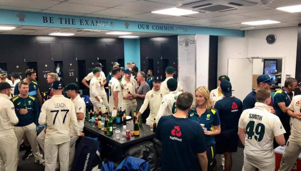 Ashes 2019, England vs Australia Ashes 2019, England cricketers and Australia cricketers celebrate Ashes together in the dressing room of the oval, England Australia cricketers drink together after Ashes was drawn, England and Australia cricketers party together in dressing room after Ashes draw 2-2, England and Australia cricketers celebrate together in the dressing room after the Ashes was drawn 2-2 at The Oval, England beat Australia in 5th Ashes test to draw the series 2-2, England beat Australia by 135 runs in 5th Ashes test to draw Ashes 2-2, England cricket team, Australian cricket team, Ashes 2019