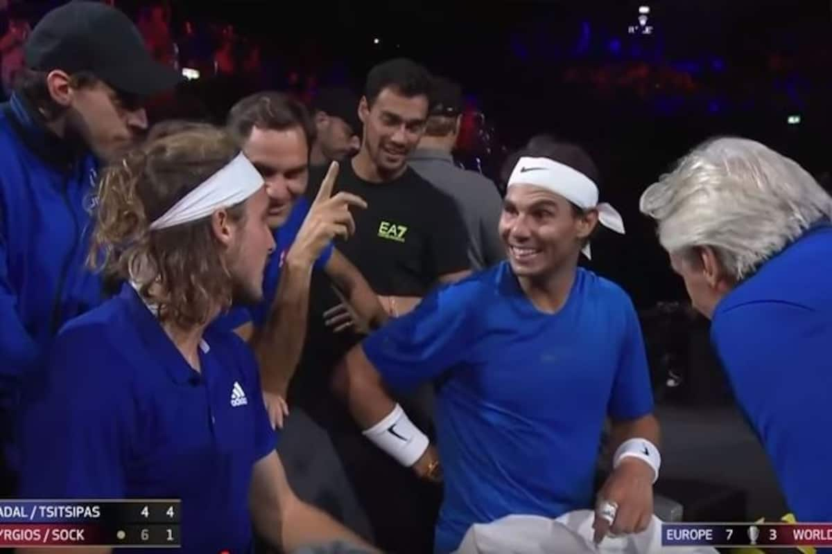 Rafael Nadal Roger Federer Find Stefanos Tsitspas Hand Signals During Laver Cup 2019 Doubles Match Funny Watch Video