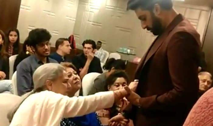 Jaya Bachchan Removing Something Off Abhishek's Blazer in Middle of Conversation is Basically All Moms Ever – Viral Video