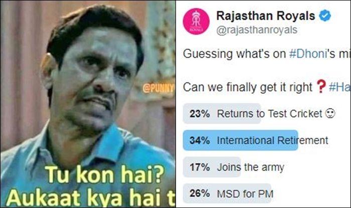 MS Dhoni, Rajasthan Royals, latest news Rajasthan Royals, Rajasthan Royals latest news, Rajasthan Royals trolled, Rajasthan Royals poll, MS Dhoni fake news, MS Dhoni retirement rumour, MS Dhoni retirement speculation, MS Dhoni age, MS Dhoni wife, Sakshi Dhoni, Sakshi Dhoni age, Sakshi Dhoni husband, Sakshi Dhoni reaction to Dhoni retirement, Sakshi Dhoni height, Kohli pays tribute to Dhoni, Kohli thanks Dhoni for top-knock vs Australia, Kohli credits Dhoni for fitness transformation, Kohli-Dhoni bond, Virat Kohli-MS Dhoni Team India, Kohli Recalls World T20 Epic vs Australia, Kohli credits Dhoni for match-winning knock in World T20 2016, India vs Australia, ICC World T20 2016, Virat Kohli-MS Dhoni Everlasting Bond, Cricket News, IND vs AUS World T20 Quarterfinal, Virat Kohli Speaks on MS Dhoni