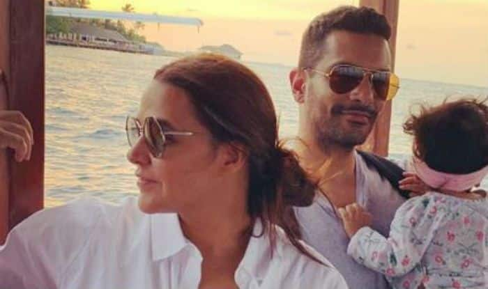Neha Dhupia-Angad Bedi with daughter Mehr