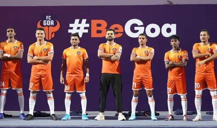 Virat Kohli, Virat Kohli unveils FC Goa new home jersey, Virat Kohli unveils FC Goa Jersey, FC Goa new home jersey, Virat Kohli ISL 2019-20, Virat Kohli in ISL, Virat Kohli co-owner FC Goa, Virat Kohli unveils new football jersey, Virat Kohli-FC Goa, FC Goa Home Jersey unveiled, Football News, Virat Kohli Indian Super League 2019, Virat Kohli at FC Goa Jersey Launch event, FC Goa Jersey Launch, FC Goa ISL 2019