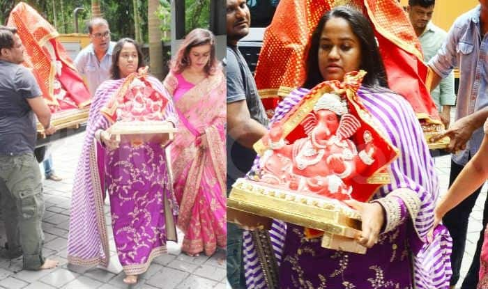 Arpita Khan Sharma Wears a Stunning Purple Sabyasachi Suit While Bringing Bappa Home on Ganesh Chaturthi – Pics