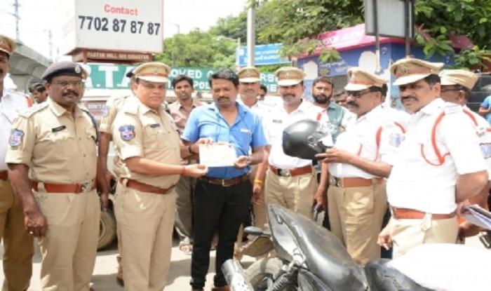 Motor Vehicle Amendment Act: Hyderabad Cops Help Motorists Buy Helmet For Violating Traffic Rules